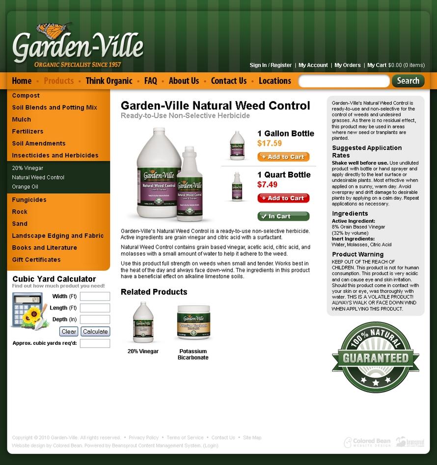 Garden ville website design portfolio colored bean for Garden design websites