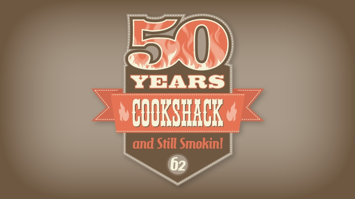 Logo/icon design celebrating Cookshack's 50th anniversary. Icon is a squared badge and banner, topped with a flaming number 50 and the text Cookshack 50 Years and Still Smokin.