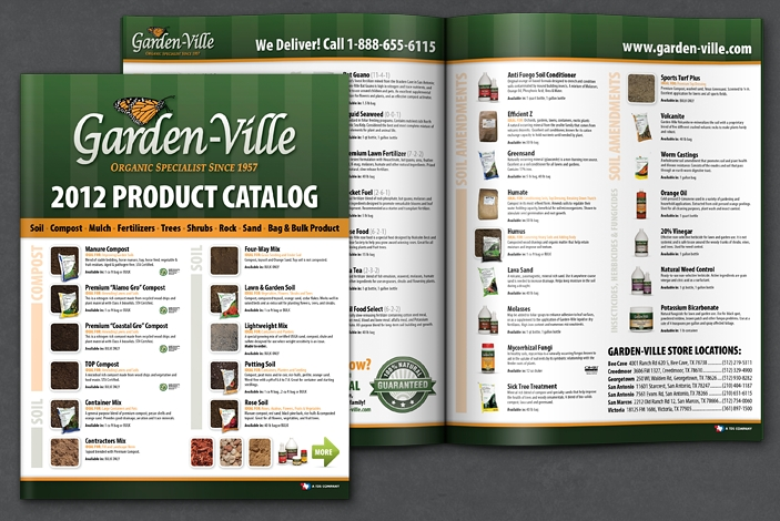 Garden ville product catalog design portfolio colored for Garden products catalog