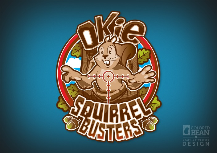 Okie Squirrel Busters Full-color Logo Design