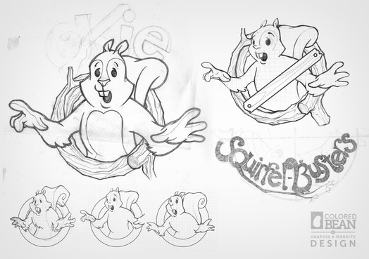 Early sketches for the Squirrel Busters logo design