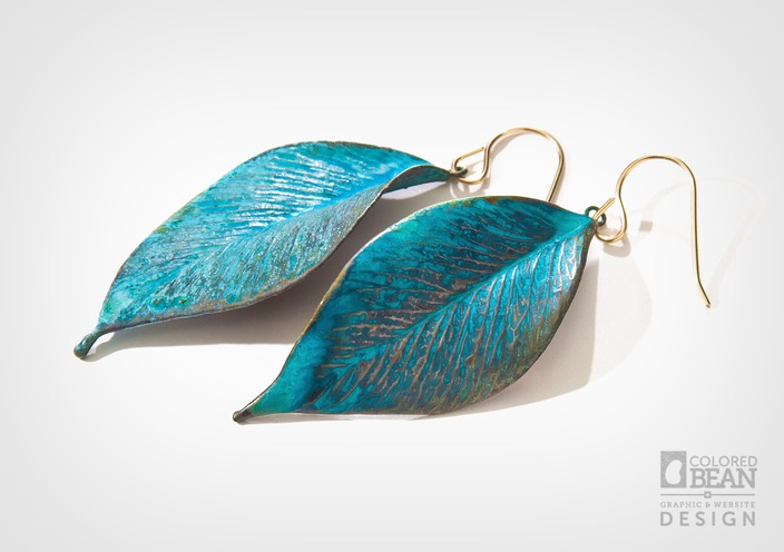 Alyxia Leaf Earrings with Copper Verdigris Finish