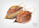 Alyxia Leaf Earrings with Iridescent Copper Finish