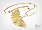 Gingko Leaf Gold Necklace with Gold Finish