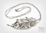 Autumn Olive Leaf Silver Necklace with Silver Finish