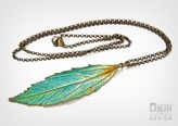 Catmint Leaf Necklace with Copper Verdigris Finish from Alyxia Leaf