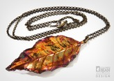 Autumn Olive Leaf Necklace with Iridescent Copper Finish from Alyxia Leaf