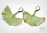 Gingko Leaf Earrings with Bronze Patina Finish from Alyxia Leaf