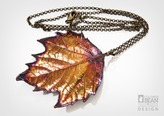 London Planetree Leaf Necklace with Iridescent Copper Finish from Alyxia Leaf