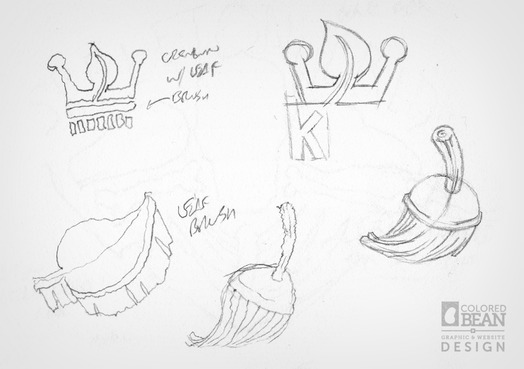 Early Concept Sketches for Kings Green Cleaning Logo Design